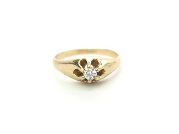 Victorian Diamond Ring Engagement Solitaire Gemstone 14K Gold Carved Flower Top Belcher Setting 1800s American Promise Ring Jewelry SZ 9