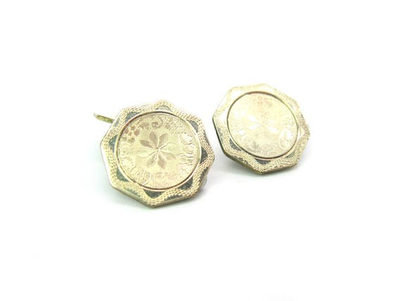 Vintage Mens Art Deco Cuff Links. Engine Turned White Gold, Rolled Plate 1920s, by Foster & Bailey