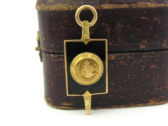 Vintage West Chester High School, PA 10K Gold Key Fob Charm Pendant 1927
