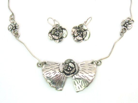 Handmade Sterling Silver Dogwood Leaves Necklace Earring Set by Sherry Tinsman