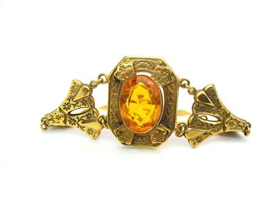 Vintage Victorian Revival Topaz Citrine Bracelet. Large Glass Jewel, Gold Filled. Antique Style