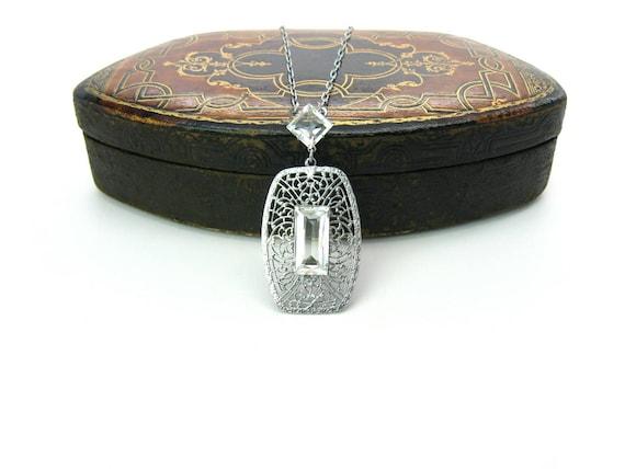 Art Deco Filigree Necklace Crystal Lavalier Pendant Rhodium Metal Matinee Length Late Edwardian Vintage 1920's Transitional Wedding Jewelry