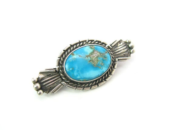 Small Vintage Navajo Turquoise Brooch. Chiseled Sterling Silver Oval, Stampings, Native American