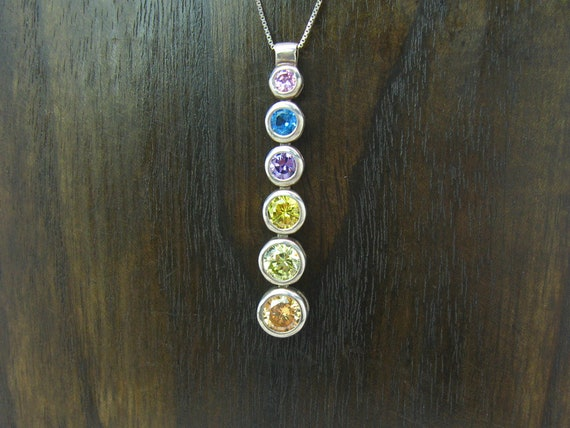 Vintage Sterling Silver Modern Y Pendant Necklace with Rainbow Crystals