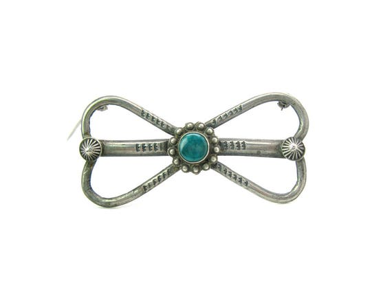 Vintage Early Navajo Green Turquoise & Sterling Silver Brooch Signed EB