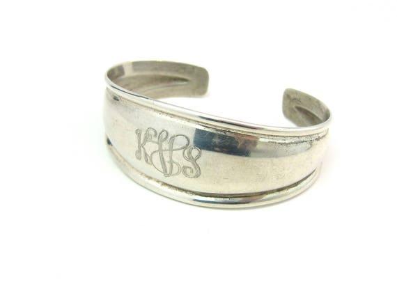 Vintage Sterling Silver Monogram KVS KSV Cuff Bracelet Signed CE