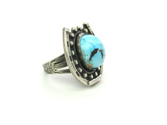 Vintage Southwestern Sterling Silver Turquoise Horseshoe Ring