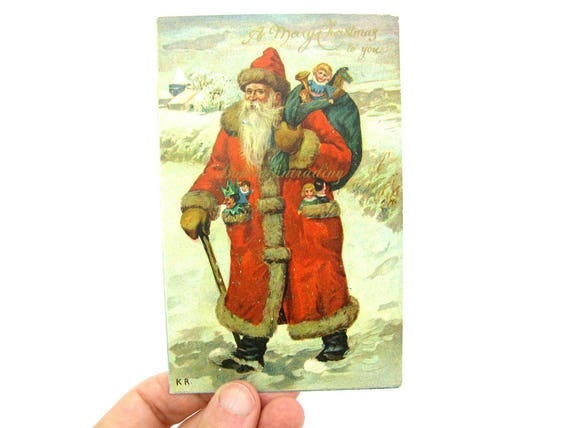 Antique Old World Santa Claus Christmas Postcard. Victorian, Ernest Nister, Dutton 1910's Printed in Germany Collectible.