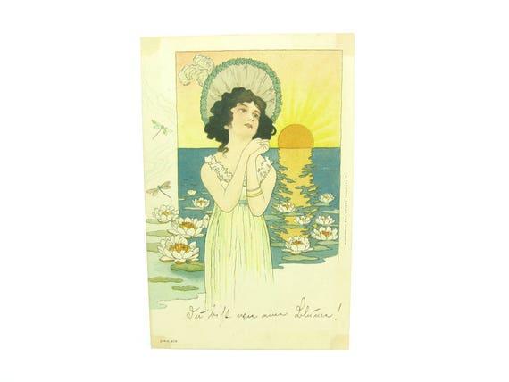 Antique Art Nouveau Wiener Werkstatte Postcard Emil Dotzert Frankfurt, 1900s