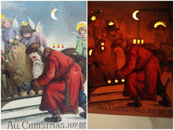 Antique Christmas Hold To Light Postcard Old World Santa, Christkind by Mailick. 1910s Germany Rare