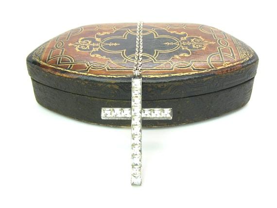 Vintage Art Deco Rhinestone Cross Necklace, c. 1920's
