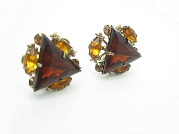 Vintage Beau Jewels Rhinestone Triangle Earrings. Smoky Topaz. Fleur de Lis.