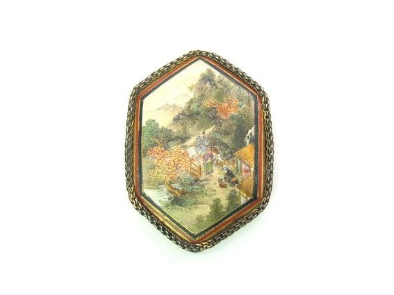 Antique 19th C Japanese Satsuma Sterling Silver Gilt Brooch