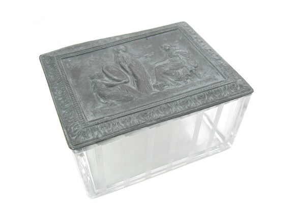 Jennings Brothers Greek Women Metal & Glass Vintage Trinket Box