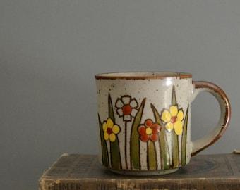 Vintage Flower Mug - Mid Century Retro Floral Garden Lady Brown Orange Yellow Coffee Tea Cup