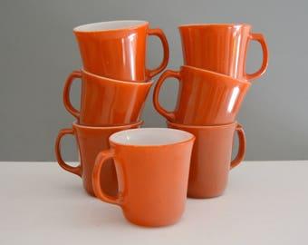 Vintage Orange Corning Ware Cups - Mid Century Retro Burnt Orange Autumn Harvest Pyrex Coffee Collection Set of Seven