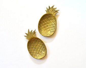 Vintage Pineapple Trinket Dish - Petite Tray Shiny Gold Mid Century Home Decor Ring Holder
