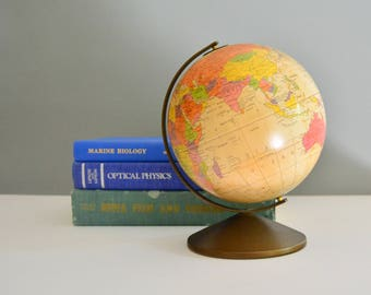 Vintage Metal World Globe - Replogle 6 Inch Diameter Piggy Money Arizona Bank Souvenir The Revere