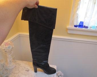3bfa0b68c97 Vintage Vero Cuoio High Black Leather Boots Size 37 1 2