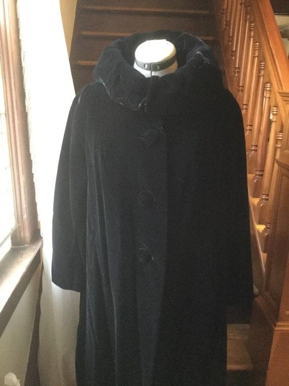 Vintage Black Velvet Swing Coat
