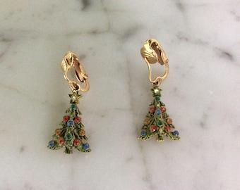 Vintage Christmas Tree Clip on Earrings