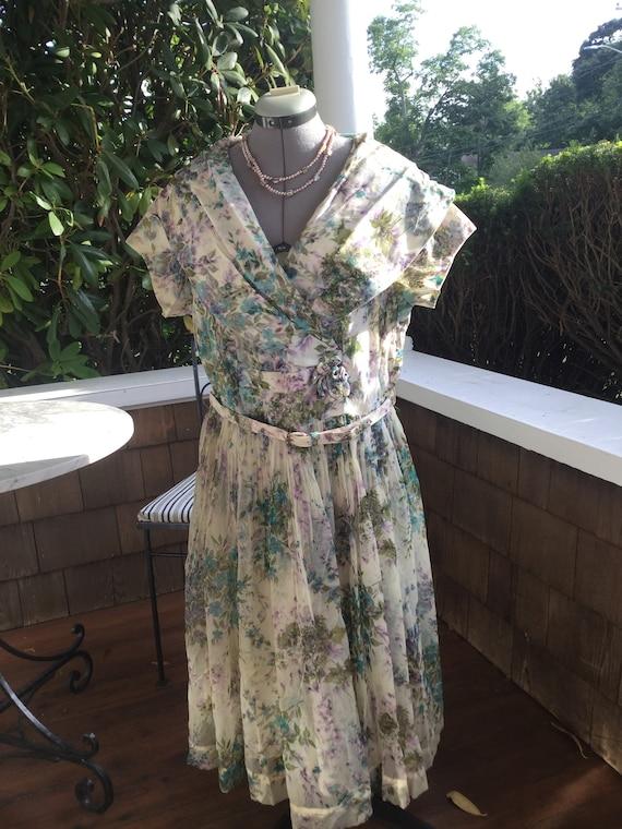 Vintage Rockabilly Floral Summer Dress XL