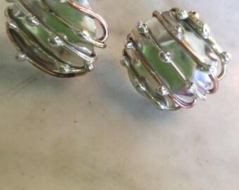 Silver and Copper Mod Earrings Pierced