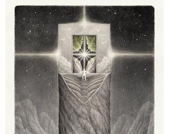 Fantasy graphite drawing print