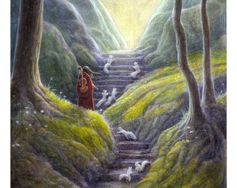 Musician fantasy landscape print