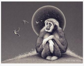 Musical Daydreams gibbon print