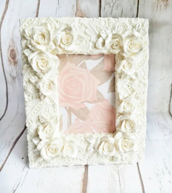 Roses Ivory Frame, Ceramic Roses, Wedding Photo Frame, Ceramic Roses ...