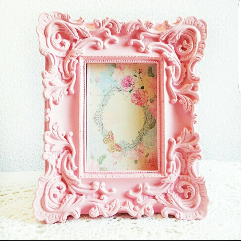 Marco de fotos rosa adornado marco Shabby Chic resina, tiza rosa ...