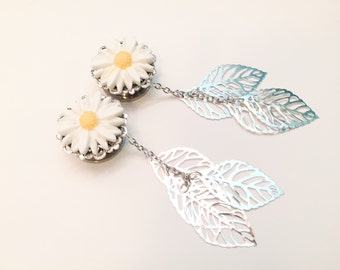 daisy puff plugs plugs daisy daisy resin plugs Plug Earrings size 10 20 30 40 50 mm blue transparent double saddle tunnels plugs