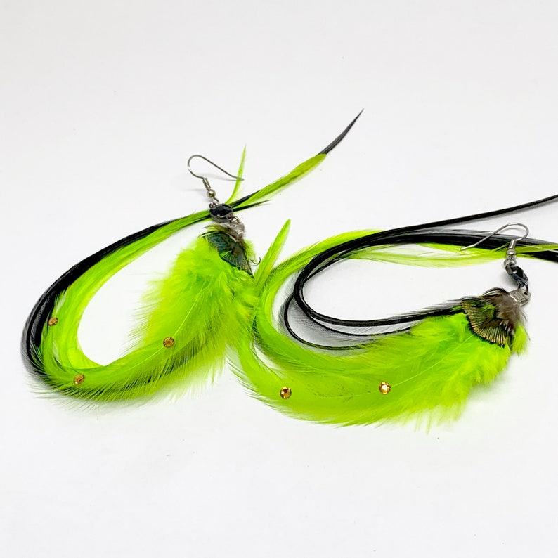 Slender Feather Earrings Chartreuse Lime Green and Black with Rhinestones OOAK Ready to Ship