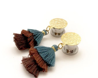 "Tassel Dangle Pugs 7/16"" 1/2"" 000g 00g 0g 2g 4g Tassel Gauges Turquoise Gold Lightweight Ear Plugs 12mm 11mm 10mm 8mm 4mm 6mm Hanging Plugs"