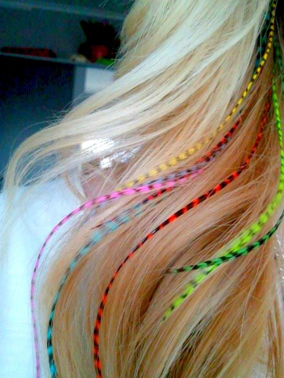 """9-12/""""+ Long Pick Pack 24 Long Whiting Feathers for Hair Extensions w//20 Beads"""