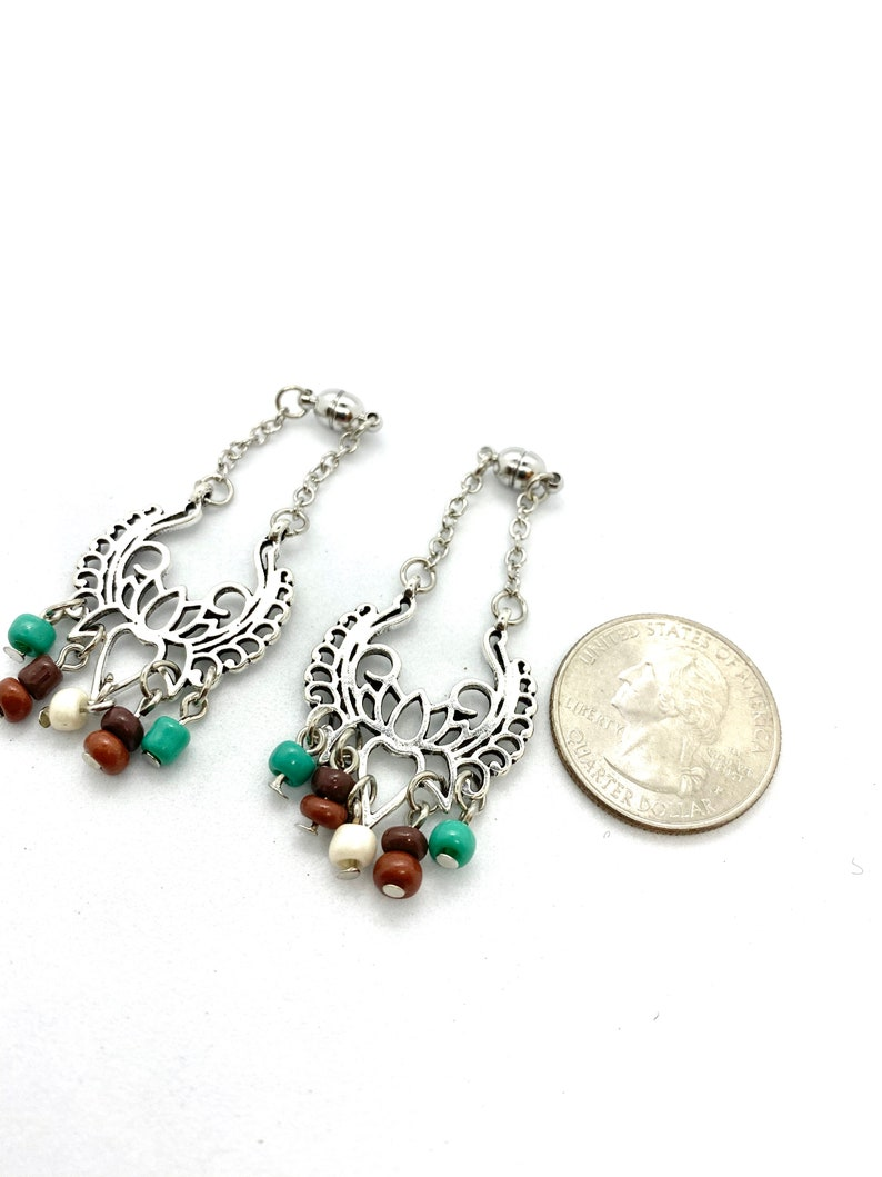 Beaded Lotus Flower Silver Magnetic Ear Plug Tunnel Hangers Sizes 1g and UP WithWithout Tunnels Dangle Plugs or Lever Back Earrings