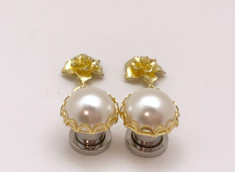 Dangle Plugs 716 000g 00g 0g 2g 6g 4g Hider Plugs Gold Flower Formal Pearl Wedding Ear Plugs  AcrylicWoodSteel TunnelsStud Earrings