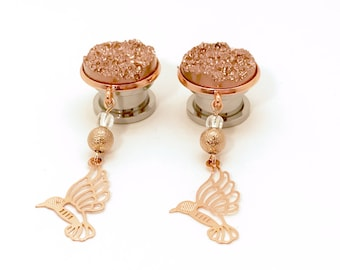 "16mm 5/8"" Rose Gold Dangle Plugs 12mm 1/2"" Dangle Gauges, 11mm 000g 7/16"" Druzy Ear Plugs 14mm 9/16"" Beaded Hanging Plugs"