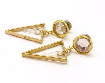 "Quartz Crystal Dangle Plugs Yellow Gold Ear Plugs 6g 4g 2g 0g 00g 000g Geometric Plugs 7/16"" 11mm 10mm 8mm 6mm 5mm 4mm Dangling Ear Plugs"