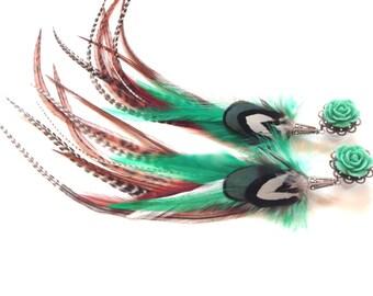 0g Türkis lange Feder Stecker 2g, 4g, Farbe 6 g baumeln Stecker mit Federn, die geeichte Ohrringe Rose Stecker wählen
