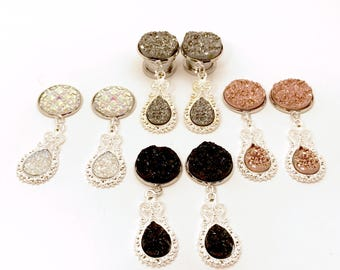 "9/16"" Silver Dangle Plugs 1/2"" Druzy Dangle Gauges, 000g 7/16"" Bridal Ear Plugs 5/8"" Black/Rose Gold/Gunmetal 11mm 12mm 14mm 16mm"