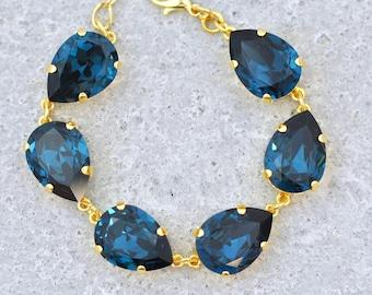 6bc781808f9 Navy Blue Bracelet Swarovski Crystal Bracelet Tear Drop Rhinestone Pear  Bracelet Navy Bridesmaids Bracelets Navy Wedding Bride Bridal Gift