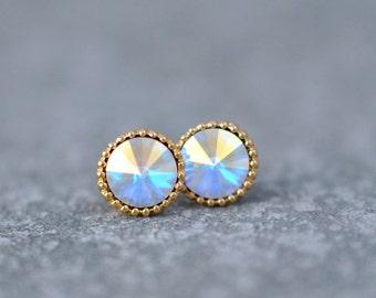 c28ec6510 Rainbow Aurora Borealis Earrings Organic Edge Studs Gold Silver Brass Ball  Swarovski Crystal Rainbow Stud Earrings Studs Mashugana