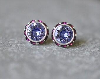 eaa291503 Purple Bridesmaid Earirngs Halo Studs Tanzanite Amethyst Earrings Swarovski  Crystal Sugar Sparklers Rhinestone Stud Earrings Wedding Bridal