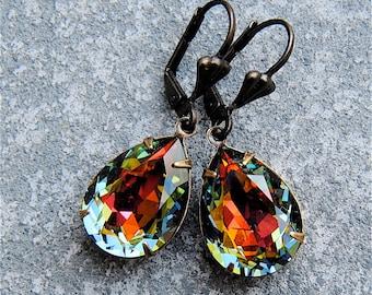 9c4fcd09aafcd Denim Rainbow Pear Stud Earrings Swarovski Crystal Tear Drop | Etsy