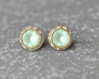 Mint Green Stud Earrings Swarovski Crystal Frosted Mint Green Rhinestone Post Earrings, Green Wedding Bridesmaids Clip On Sugar Sparklers