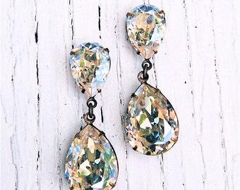 Moonlight Earrings Swarovski Crystal Earrings Dangle Post Rhinestone Drop Earrings Duchess Hourglass Bridal Earrings Crystal Bride Clip On