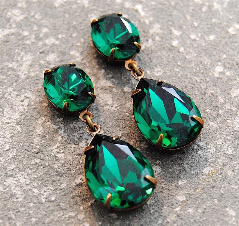 6e45ea2fe5193 Emerald Green Earrings Swarovski Crystal Emerald Earrings Rhinestone Post  Dangle or Clip on Earrings Petite Fiesta Mashugana