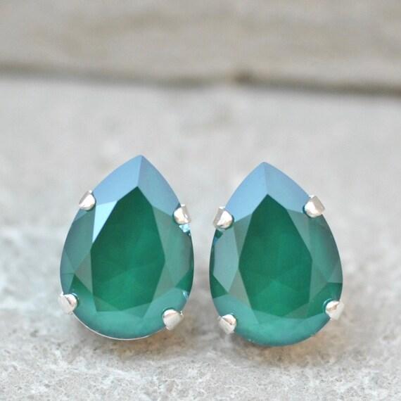 scheiding schoenen uitverkoop eerste blik Emerald groen oorbellen Swarovski Crystal Emerald oorbellen Rhinestone Post  bengelen of Clip op oorbellen Koninklijk groen glanzend Tear Drop bruiloft